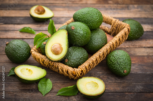 Stampa su Tela Fresh organic avocado on the wooden table