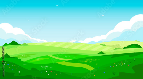 Aluminium Prints Green coral Rural landscape with green hills and blue sky