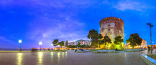 View Of  The White Tower Of Thessaloniki Which Is A Monument And Museum On The Waterfront Of Thessaloniki, Capital Of The Region Of Macedonia In Northern Greece