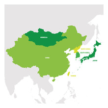 East Asia Region. Map Of Count...