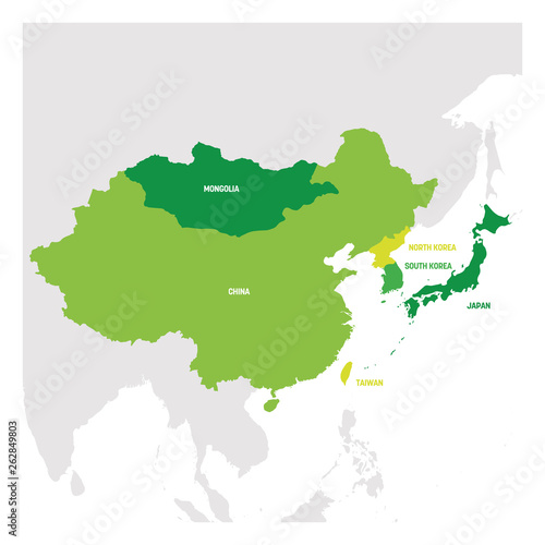 East Asia Region. Map of countries in eastern Asia. Vector ...