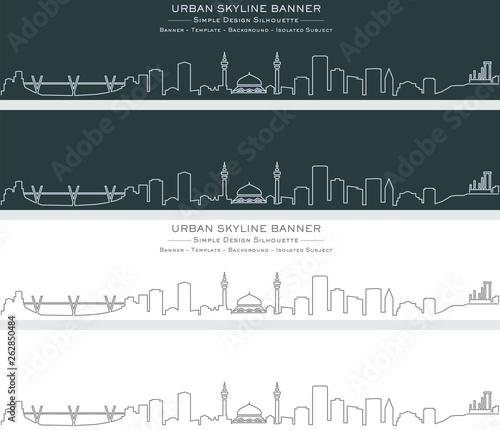 Amman Single Line Skyline Banner Canvas Print