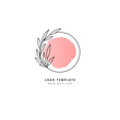 Floral logo template circle with leaves and pink background element
