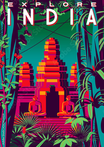 Travel poster about India with jungle and an ancient temple in the background.