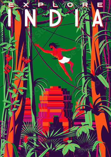 Travel poster about India with Mowgli in the jungle and an ancient temple in the background Canvas Print