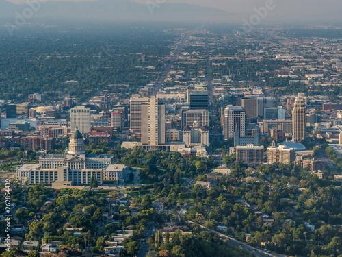 Aerial panorama of Salt Lake City downtown