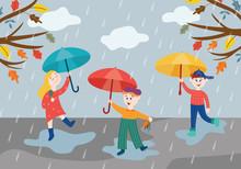 Cheerful Children Playing Under Umbrella In Rainy Weather Outdoors In Autumn Park Or Garden.