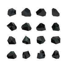 Vector Illustration Set Of Various Black Coal Pieces Isolated On White Background.