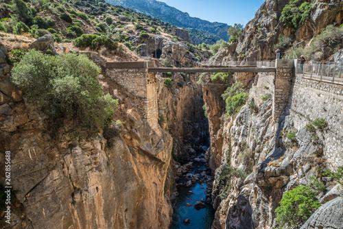 Puente del Rey sobre río Guadalhorce en Caminito del Rey. Canvas Print