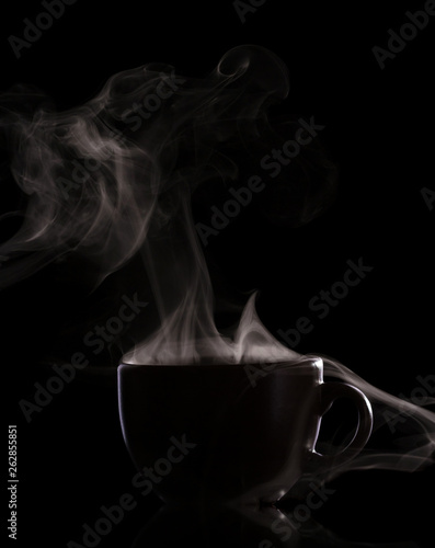 Foto-Lamellenvorhang - Silhouette of cup with a hot drink and steam isolated on black background (von laboko)