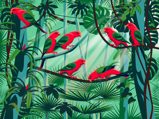 Parrots in the thickets of a flowering rainforest.