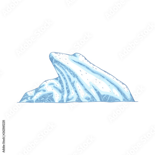 Obraz na plátně  Blue iceberg vector icon isolated on white background in cartoon or sketch style