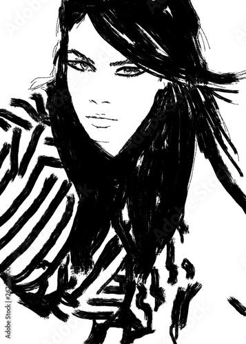 Foto op Plexiglas Art Studio Fashion illustration black and white painting