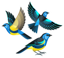 Stylized Birds - Turquoise Tan...