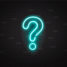 Blue Glowing Outline Neon Question Mark Or Sign On Black Background.