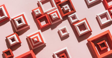 3d Illustration Of Red And Pink Squares Randomly Placed On Pink Paper