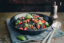 Food: Spaghetti Sepia With Dried Tomato, Grilled Bell Pepper