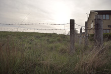 Landscape Barbed Wire Field At...