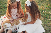 Two Girls Playing With Cat