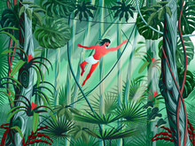 Tarzan Jumps From Branch To Branch In The Thickets Of The Rainforest.