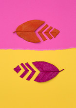 Two Painted And Cut Leaves On Ripped Pink And Yellow Paper