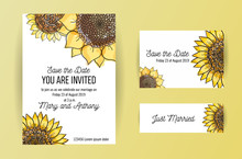 Set Of 3 Wedding Invitation Card With Big Yellow Flowers Sunflower And Lettring. A5 Wedding Invitation Design Template On White Background With Sketch Illustation