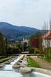 Blick über das Wasserparadies, zur Altstadt mit Stiftskirche in Baden-Baden