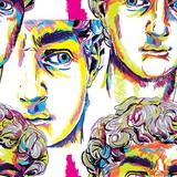 Bezszwowy wzór z greckimi rzeźbami. Męskie twarze. Stylowe kolorowe tło. pop art, starożytność. - 262880825