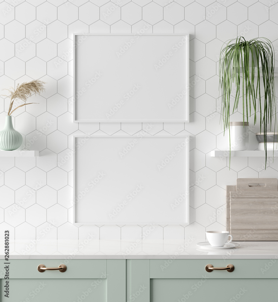 Fototapety, obrazy: Mock up poster frame in kitchen interior, Scandinavian style, 3d render