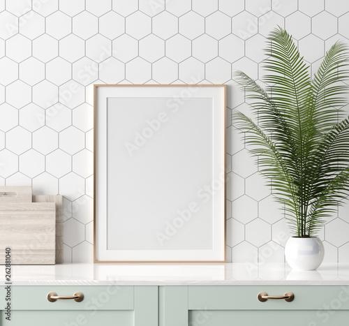 Fototapeta Mock up poster frame in kitchen interior, Scandinavian style, 3d render obraz
