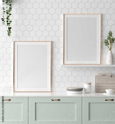 Mock up poster frame in kitchen interior, Scandinavian style, 3d render Wall mural