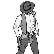 Man With Cowboy Hat And Gun. Western Gunfighter. Digital Sketch Hand Drawing Vector. Illustration.