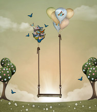 Surreal Swing In A Springtime ...