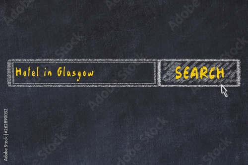 Chalk sketch of search engine. Concept of searching and booking a hotel in Glasgow