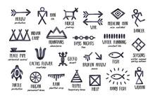 Native American Symbols Collection (arrow, Man, Horse, Mountain, War, Cactus Flower, House, Desert, Camp, Rain, Season, Dance, Journey, Gecko). Handdrawn Watercolour Graphic Paint On White Background.