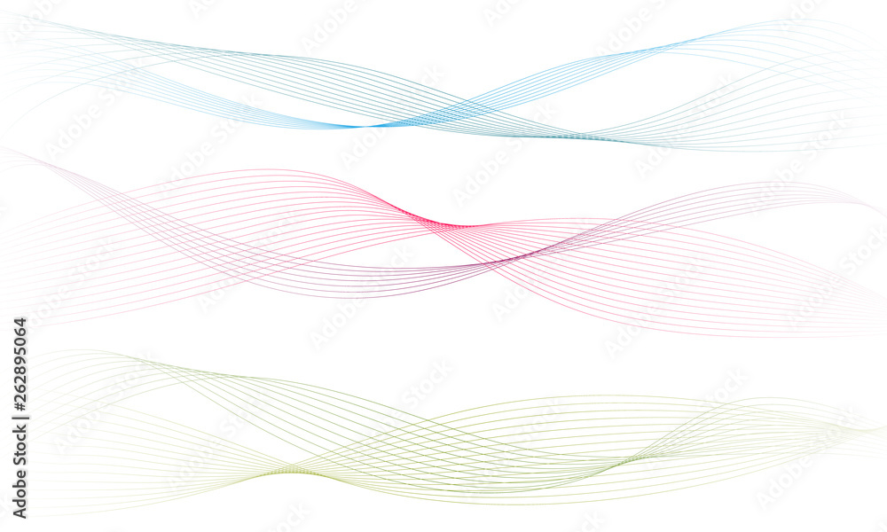 Fototapety, obrazy: Abstract colorfull wave element for design. Digital frequency track equalizer. Stylized line art background.Vector illustration.Wave with lines created using blend tool.Curved wavy line, smooth stripe