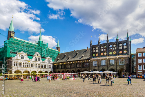 Marktplatz, Lübeck, Deutschland  - fototapety na wymiar