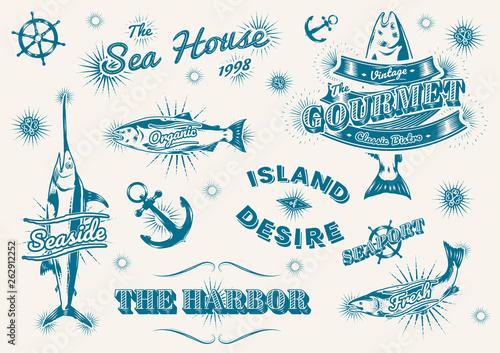 Fotografie, Obraz  Vintage marine logos