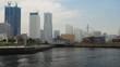 panning shot of Minatomirai, view from the bay in Yokohama city, Japan