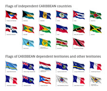 Wavy Flags Of Independent Caribbean Countries And Dependent Territories. Officially Recognized Flag Of State On Flagpole. Realistic National And Political Identity. Patriotic Vector Illustration.