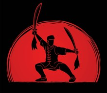 Kung Fu, Wushu With Swords Pose Cartoon Graphic Vector