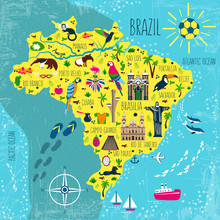 Brazil Illustrated Map Vector, South America Geographic Cartoon Banner Template With Landmarks, Museum, Church, Traditional Food, Brazilian Carnival, Animal And Flowers, Design For Travel Poster, Card