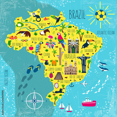 Fotografie, Obraz Brazil illustrated map vector, South America geographic cartoon banner template