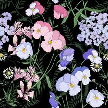 Flowers On Black Background Seamless Print.
