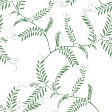 Green Leaves And Branches Seamless Pattern.