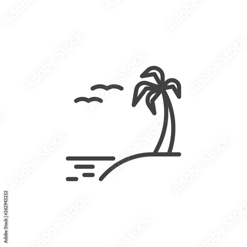 Exotic Island Beach Line Icon Linear Style Sign For Mobile