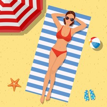 Girl On The Beach With A Bikini. Summer Time. Beautiful Woman Wearing Lying On The Beach On A White And Blue Striped Towel. Vector Illustration In Flat Style