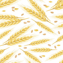 Seamless Pattern With Gold Ears Of Wheat And Grains On White Background. Vector Illustration In A Flat Style.