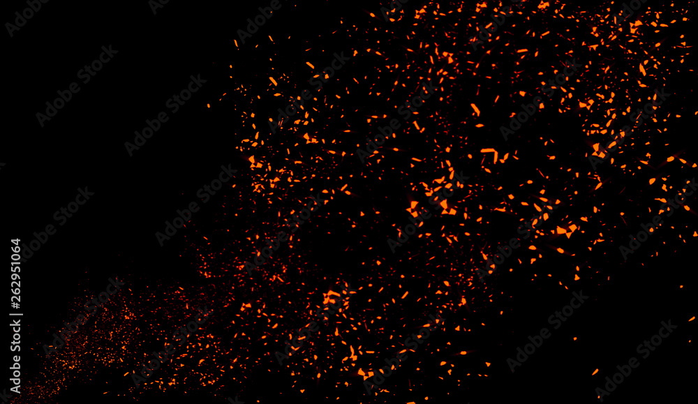 Fototapety, obrazy: Colorful particles effect dust debris isolated on black background, motion powder spray burst texture.