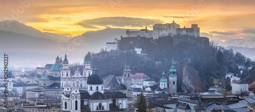Vászonkép  Panoramic view of Salzburg at winter morning